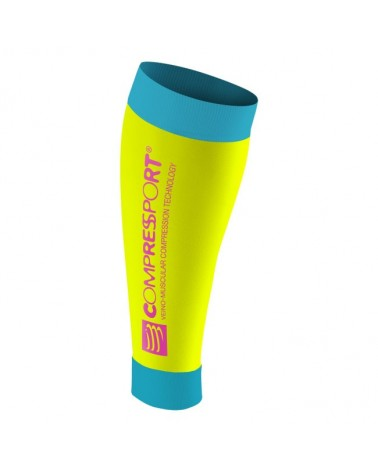 Compressport Calf R2 Race and Recovery Gambaletti a Compressione, Fluo Yellow