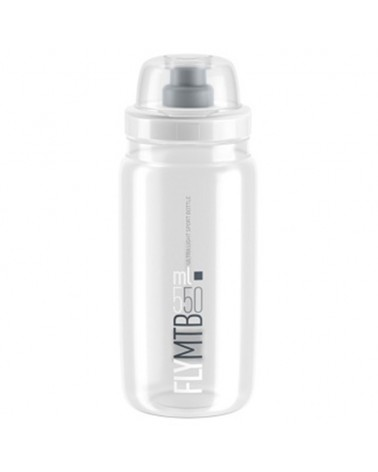 Elite Bottle Fly MTB 550ml, Clear Logo Grey