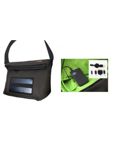 E-Mission Borsa con Pannelli Solari per Ricarica Dispositivi Large Solar Bag, Black
